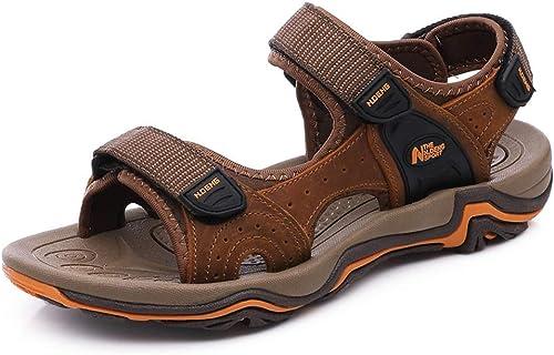 HVSLXM Sandales de Marche Homme Cuir Bout Sport Ouvert Chaussure