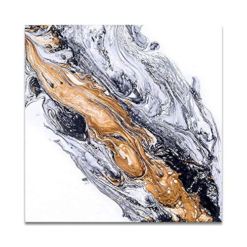 oioiu Sin Marco-Abstract Canvas Print Blanco y Negro Golden Art Coastal Oil Painting Wall Pictures para la...