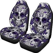 ELEQIN SEANATIVE Punk Sugar Skull Car Seat Covers 2 Packs Set Auto Interior Accessories Mens Universal Bucket Purple Front Seats Protector Cover for Cars Sedan SUV