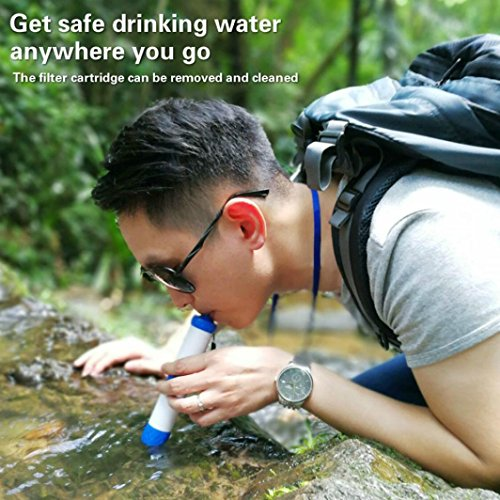 Portable Water Filter Straw for Outdoor Emergency Camping, Staron Personal Lightweight Purifier Pressure Water Purification and Filtration System for Hiking Backpacking Prepping and Survival (White)