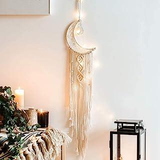 Dremisland Macrame Woven Wall Hanging Moon Dream Catcher- Boho Chic Bohemian Home Decor Wall Art Decor Beautiful Apartment...