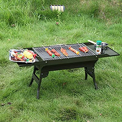 ColourTree Stainless Steel Portable Travel Folding Barbecue BBQ Charcoal Grill with Legs - Silver Chrome, Lightweight, Foldable - for Camping, Picnic, Outdoor (Black)