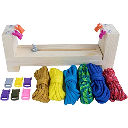 Wristband Maker with 6 Paracord Hanks and 6 Quick Release Buckles Tool Kit DIY Jig Bracelet Maker with Parachute Cord Weaving Paracord Braiding Craft Heavy Duty Buckles