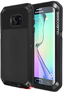 seacosmo Protective Case Compatible with Galaxy S6 Edge, Full Body Military Rugged Heavy Duty Cover Shockproof Dual Layer Bumper Case(Without Screen Protector), Black