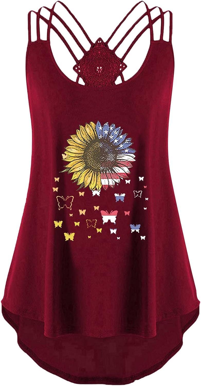 Cute Tops for Women Summer,Sunflower Tank Tops for Women Summer Sleeveless Tops Casual Tee Loose Blouse
