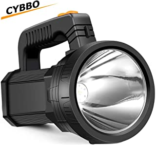 LED Handheld Spotlight Flashlight Super Bright Rechargeable 9600mAh 6000 Lumens Cree Spot Light Waterproof Tactical Torch 5 Light Modes Side Floodlight and USB Power Output Function