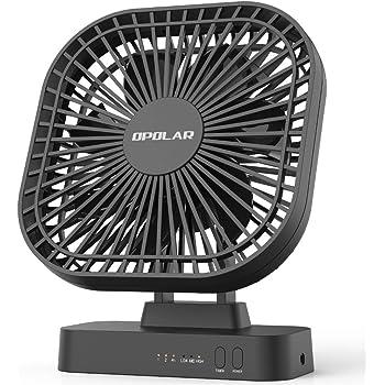 OPOLAR卓上扇風機 USBと4本単3形乾電池消費電力 切タイマー機能付き 90度回転ミニ 小型 静音 3段階風量調節 7枚羽根 デスク・オフィス用扇風機