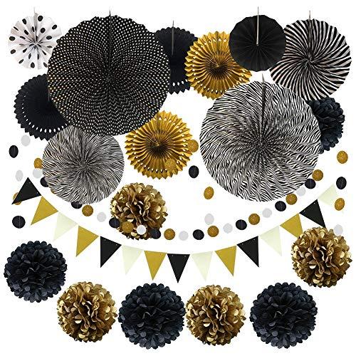 Surmounty Papier Deko Schwarz Gold Party Dekoration, 21Pcs Pompoms Party inkl. Papier Fan, Seidenpapier Blumen, Rund Papier Girlande, Dreieckiger Wimpel, Dekorpapier Kit für Hochzeit Festival Karneval
