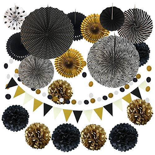 FOVERN1 21 Pieces Party Decoration, Black and Gold Hanging Paper Fans, Pom Poms Flowers, Garlands String Polka Dot and Triangle Bunting Flags for Birthday, Wedding, Fiesta Party Decoration