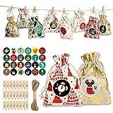 VBNM Calendario de Adviento para rellenar, 24 unidades, bolsas de regalo de Navidad, bolsas de yutesack con números de Adviento, pegatinas de madera, para regalo de Navidad