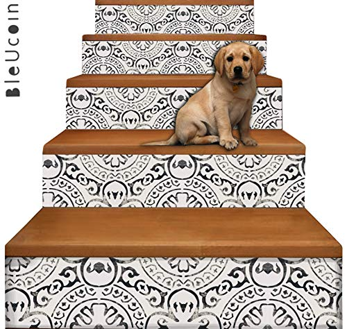 Bleucoin Amalfi Stair Riser Peel Stick Vinyl Decal Self Adhesive Waterproof Easy to Trim & Clean Pet Friendly Repositionable Removable DIY for Home Decor (6