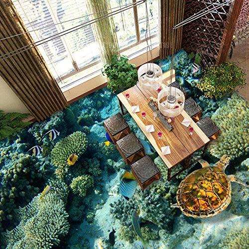 Suelo Pvc Autoadhesivo Suelo De Imagen Personalizado Mundo Submarino De Tortuga De Coral Papel Tapiz De Pvc Adhesivo Estereoscópico 3D Suelo Impermeable-300 * 210 Cm Para El Dormitorio De La Sala De