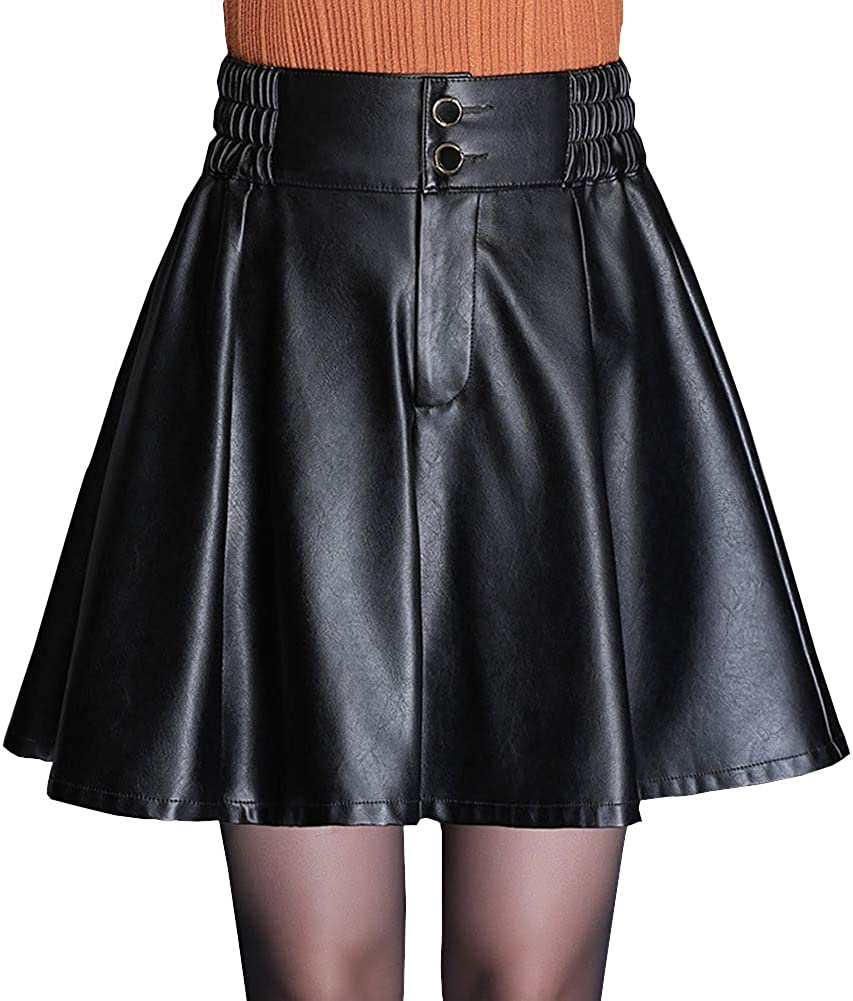 DISSA FS3026 Women Pu Leather Plus Size Mini Pleated Club Skirt