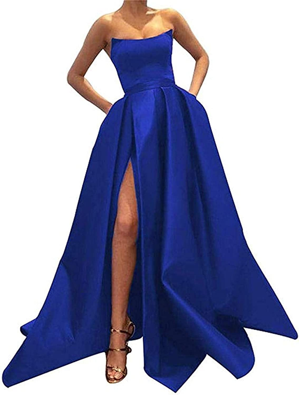 QiJunGe Women's Strapless Satin Prom Dress Split A Line Formal Party Gown