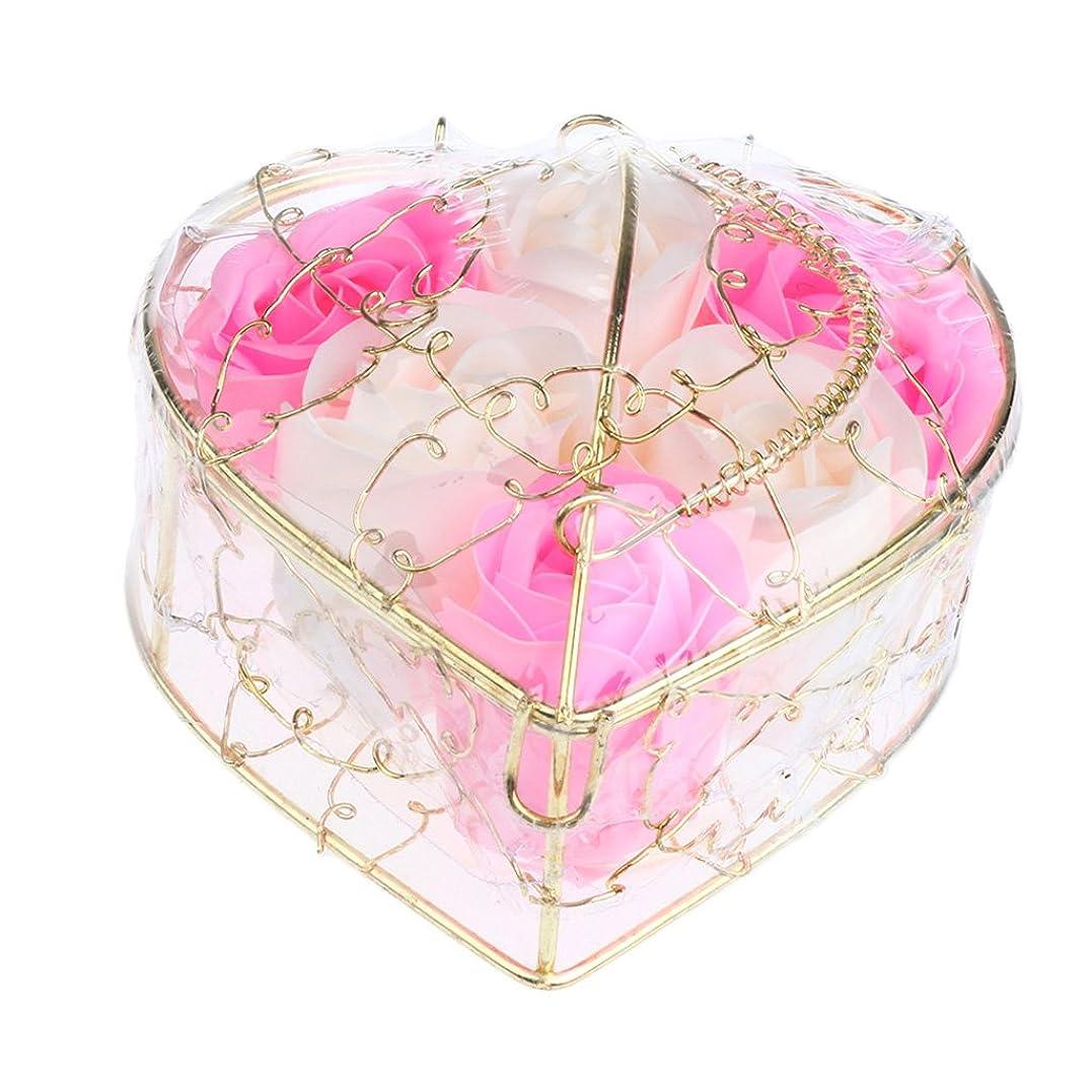 クローン貢献件名IPOTCH 6個 ソープフラワー 石鹸花 造花 バラ フラワー ギフトボックス 誕生日 母の日 記念日 先生の日 プレゼント 全5仕様選べる - ピンクとホワイト