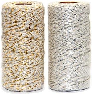 Ewparts 656 Feets 2 Stück Gold/Silber Gefärbte Baumwollfaden Schnur, für Geschenkverpackung/Etikettenzwirn, 2 Rollen Gold/Silber Baumwollgarn