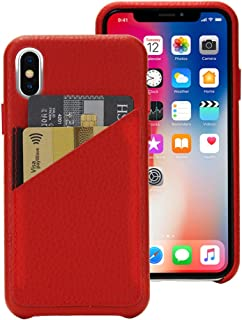 Cassenger Slim Fit Genuine Italian Leather Hard Back Case Protective Cover Snap On Case with 2 Card Holder Slots for iPhone Xs-Red