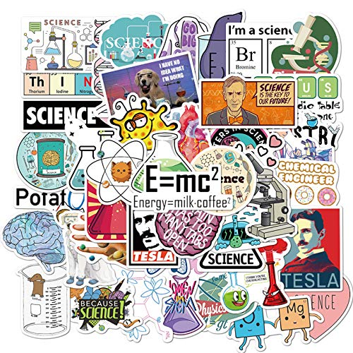 50 PCS Science Chemistry lab Astronaut Stickers Blockchain Code Brain Scientists Funny Stickers for Child Gift Decor Luggage