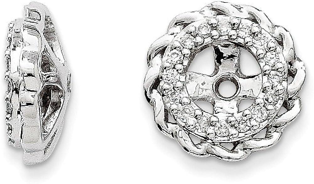 14K White Gold Diamond Round Earring Jackets 4.00 mm Opening for Stud Earrings (0.099Cttw)