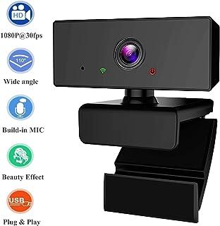 Phipuds Webcam PC Full HD 1080P con Micrófono, Webcam Portátil para PC, Webcam USB 2.0, Streaming Cámara Reducción de Ruido para Videollamadas, Grabación, Conferencias con Clip Giratorio.