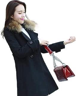 neveraway Womens Turn-Down Faux Fur Collar Top Coat Slim Wool Blend Outwear