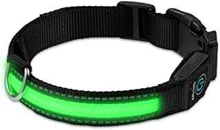 LUXMO LED Dog Collar USB Rechargeable Flashing Adjustment Pet Safety Collar with Waterproof, Green Light up Collar Makes Your Dog Visible & Safe, Available in 3 Sizes(Small Medium Large)