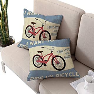 Josepsh 1960s Decorations Collection Square car seat Cushion Cover,Quality Bike Tour Joy Vintage Grunge Poster Style Quotes I Want to Ride My Bicycle Image Blue W20 xL20 2pcs