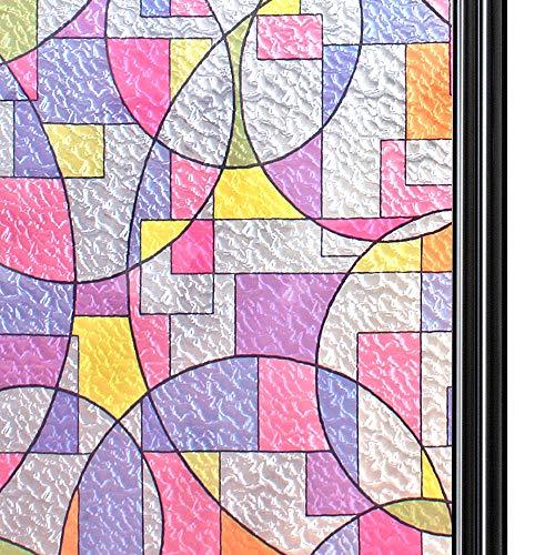 Qualsen Película para Ventana Privacidad Vinilo de Ventana Película para Vidrio Decorativa del Película de Ventana Autoadhesiva Vinilo para Vidrio Anti-UV (44.3cm x 200cm, círculos)