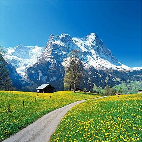 VIXI Wandaufkleber Tapete Wandbild Tapete 3D Wohnzimmer Schlafzimmer TV Hintergrund Schweizer Alpenlandschaft Kunst Aufkleber Wandbild,400 * 280 cm,