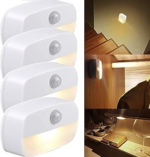 Lumière de détecteur de mouvement, paquet de 4 Veilleuse PIR LED Auto On Off, Applique murale, Lampes de placard, Lumières...