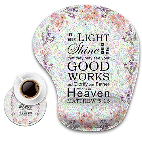 Ergonomic Mouse Pad with Wrist Support and Coaster,Biblical Verses Quote Matthew 5:16 Non-Slip PU Base Ergonomic Design to Protect Your wrist for Home Office Working Studying Easy Typing & Pain Relief