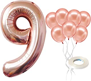 Rose Gold 9 Balloon Number – Large, 9th Birthday Balloon Party Decorations Supplies   Great for Anniversary 9 Years Old, B...