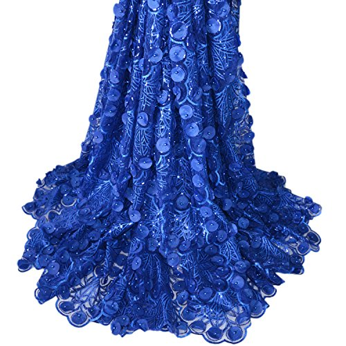Aisunne Afrikanische Spitzenstoffe, 4,5 m, nigerianische französische Spitze, Stoff mit 3D-Blume, Mode bestickt und Strass für Hochzeitskleider dunkelblau