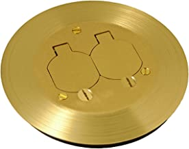 Hubbell RAC5500KIT Floor Box Kit with Duplex Device Cover Gasket, Flange, and Adapter, Solid Brass Finish