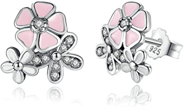Cherry blossoms Stud Earrings - Authentic 925 Sterling Silver - European-style Charm