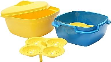 oliveware Plastic Microwave and Dishwasher Safe Dhokla/Idli Maker, Vegetable Steamer and Rice Cooker Full Big Set - Makes 8 idlis (Yellow)