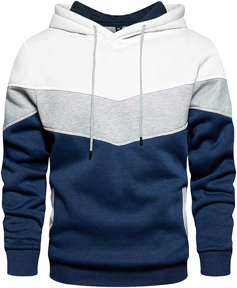 Austin Mall LBL Men's Solid Pullover Hoodies Blend Hooded Indefinitely Sports Fleece Soft