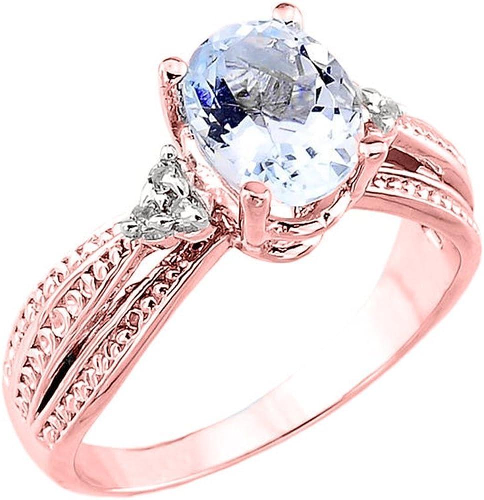 10k Rose Gold Diamond Band Oval Aquamarine Engagement Ring