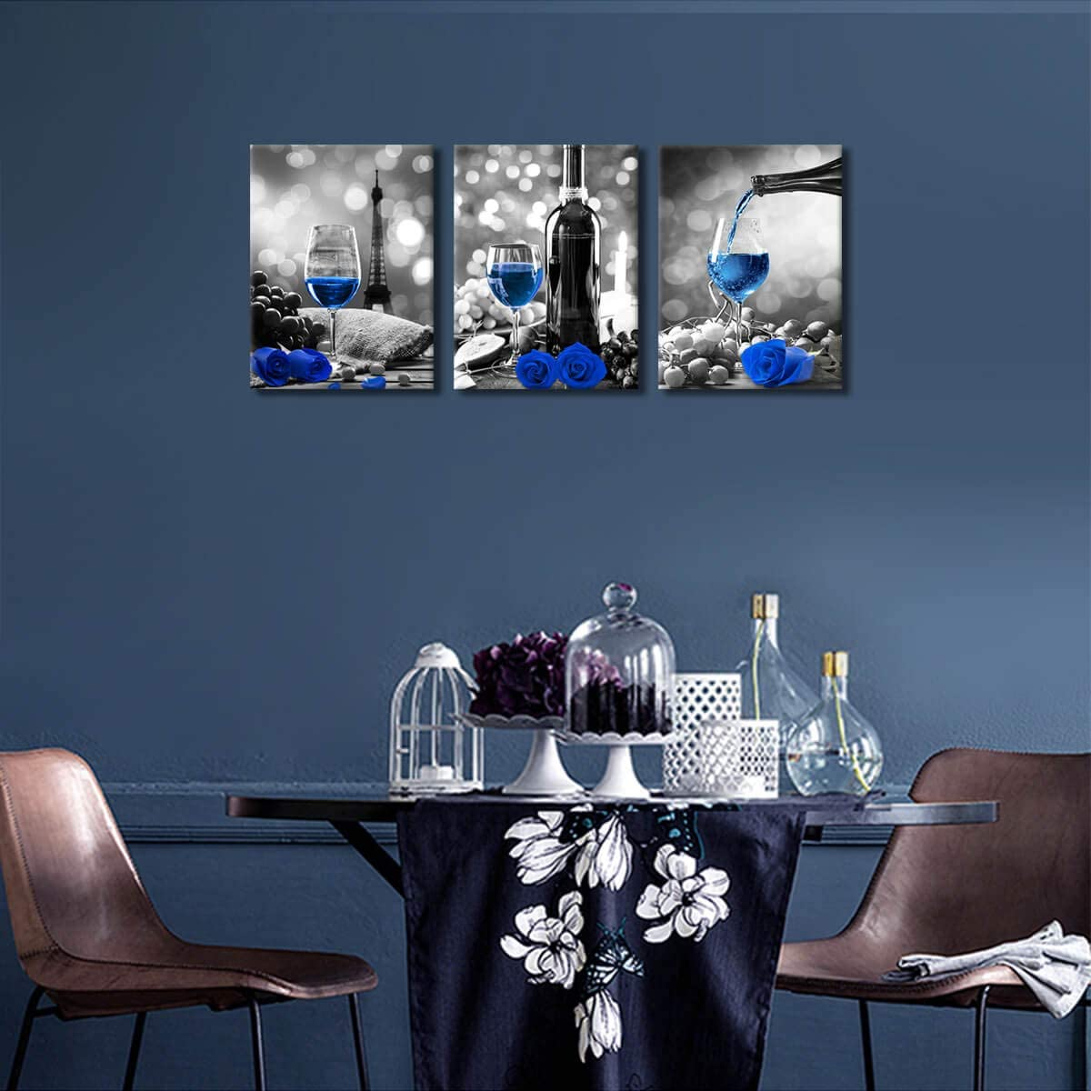 Buy Wine Decor Kitchen Canvas Art Blue Wine Rose Artwork For Home Walls Black And White With Blue Wine Painting Printed Rose Art Dining Room Decor Blue Kitchen Pictures Wall Decor Stretched