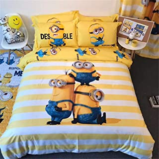 EVDAY Cute Minions Bedding for Kids Super Soft 100% Cotton Despicable Me Cartoon Printing Bed Set 4Piece Including 1Duvet Cover,1Flat Sheet,2Pillowcases Queen Size