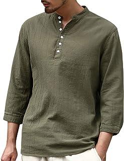 綿麻 Tシャツ 花千束 メンズ リネンシャツ 七分袖 夏服 オシャレ ヘンリーネック 大きいサイズ 無地 カットソー