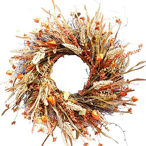 ZJDM 25' Artificial Fall Wreath,Front Door Wreath, Christmas Wreath with Pumpkin Maple Leaves and Red Berry Ideal for Autumn Halloween Thanksgiving Day Christmas Indoor Outdoor Decor