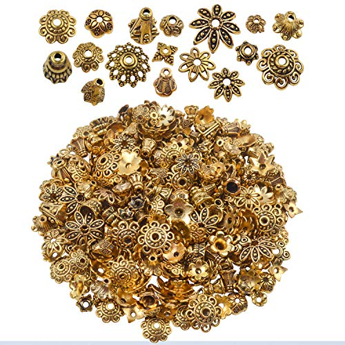 BronaGrand 100 Gram(About 250-350pcs) Bali Style Jewelry Making Metal Bead Caps Deluxe New Mix,Antique Gold