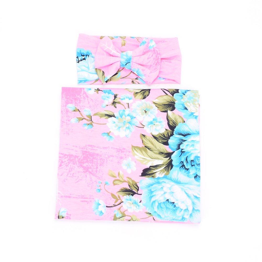 Galabloomer Newborn Receiving Blanket Hat Set Flower Print Baby Swaddle Receiving Blankets (Pink)