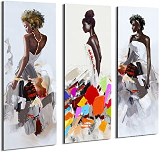 Artinme Framed African American Black Art Dancing Black Women in Dress Wall Art Painting on Canvas Print Wall Picture for Home Accent Living Room Wall Decor (12 x 36 inch, Set of 3)