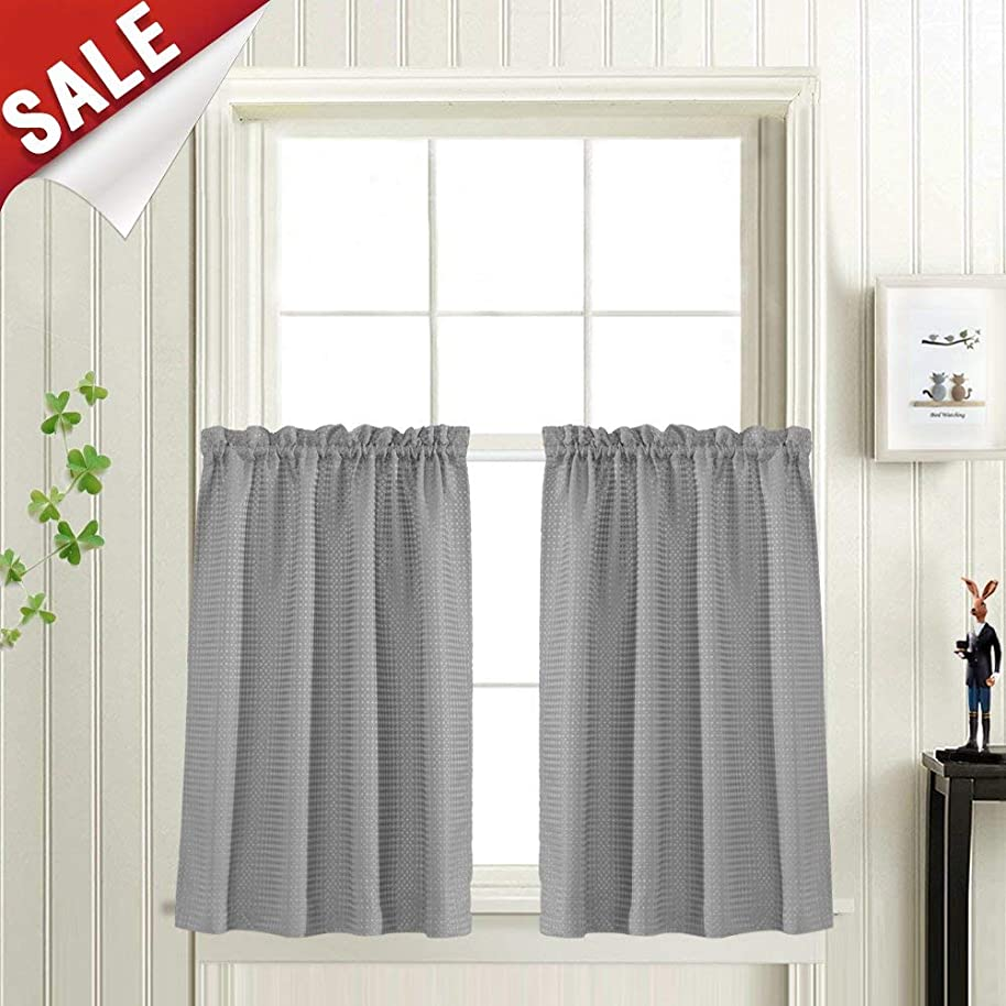 Waffle Woven Half Window Curtains for Bathroom Waterproof Kitchen Window Treatment Set (72-by-36 Inch, Grey, One Pair)
