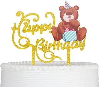 Happy Birthday Cake Topper Cartoon Bear Reusable Acrylic for Baby Child Party Decoration Supplies (Gold)