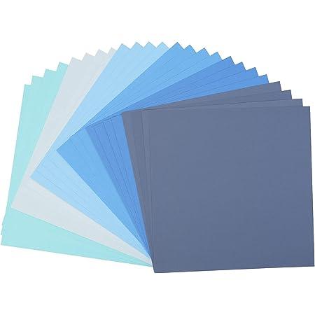 Vaessen creative 2923-001 Florence Papier Cartonné, Couleurs Bleues, 216g, 30,5 x 30,5 cm, 24 Feuilles, Surface Texturée, pour Peindre, Scrapbooking et Plus, Multi