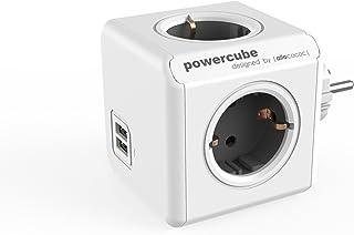 Allocacoc PowerCube DuoUSB Original Gris, Ladrón Multiple con 4 enchufes/Tomas de Corriente y 2 de USB en Forma de Cubo, B...