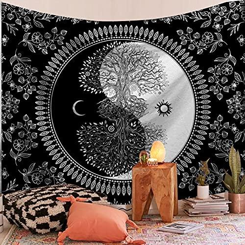 PPOU Mandala Tapiz Colgante de Pared Boho Mandala decoración del hogar Fondo Tela Manta Tela Colgante Hippie Tapiz psicodélico A24 180x200cm